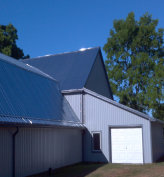 Pole Barn long sheet steel roofing